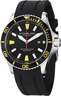 Stuhrling Original Men's 706.04 Aquadiver Regatta Quartz Date Yellow Accent Rubber Strap Diver Watch
