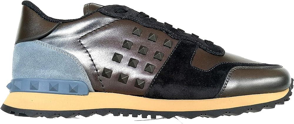 Valentino garavani rockstud ,scarpe per uomo, sneakers ,in nylon e pelle RY2S0748VLW