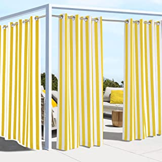 "Outdoor Décor Coastal Grommet Panel Outdoor curtains, 50"" Wide by 108"" Long, yellow"