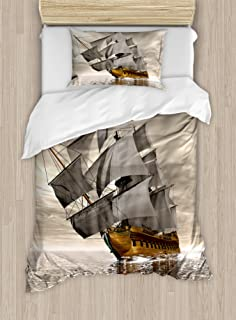 Ambesonne Ocean Duvet Cover Set Twin Size, 3D Style Pirate Ship Sea Historic Vessel Cloudy Sky Voyage Exploration Theme, Decorative 2 Piece Bedding Set with 1 Pillow Sham, Grey Pale Coffee