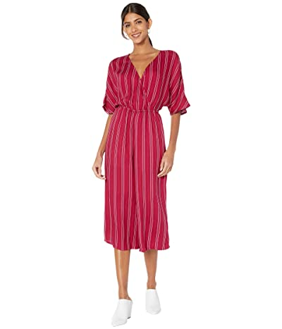 Jack by BB Dakota Printed Rayon Crepe Stripe Jumpsuit with Two-Tone Rope Tie (Lipstick Red) Women