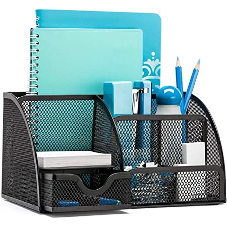 OKPOW Desk Organisers, Office Mesh Desk Tidy Organiser 6 Components Pen Holder with Drawer Multifunctional Stationary Organiser Black
