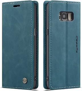 QLTYPRI Samsung Galaxy S8 ケース 手帳型 PU 高級レザー マグネット カード収納 全面保護 薄型 耐衝撃 横置き Qi充電対応 おしゃれ 人気 - ブルー
