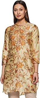 Ritu Kumar Band Collar Full Sleeve Floral Print Shirt Kurti