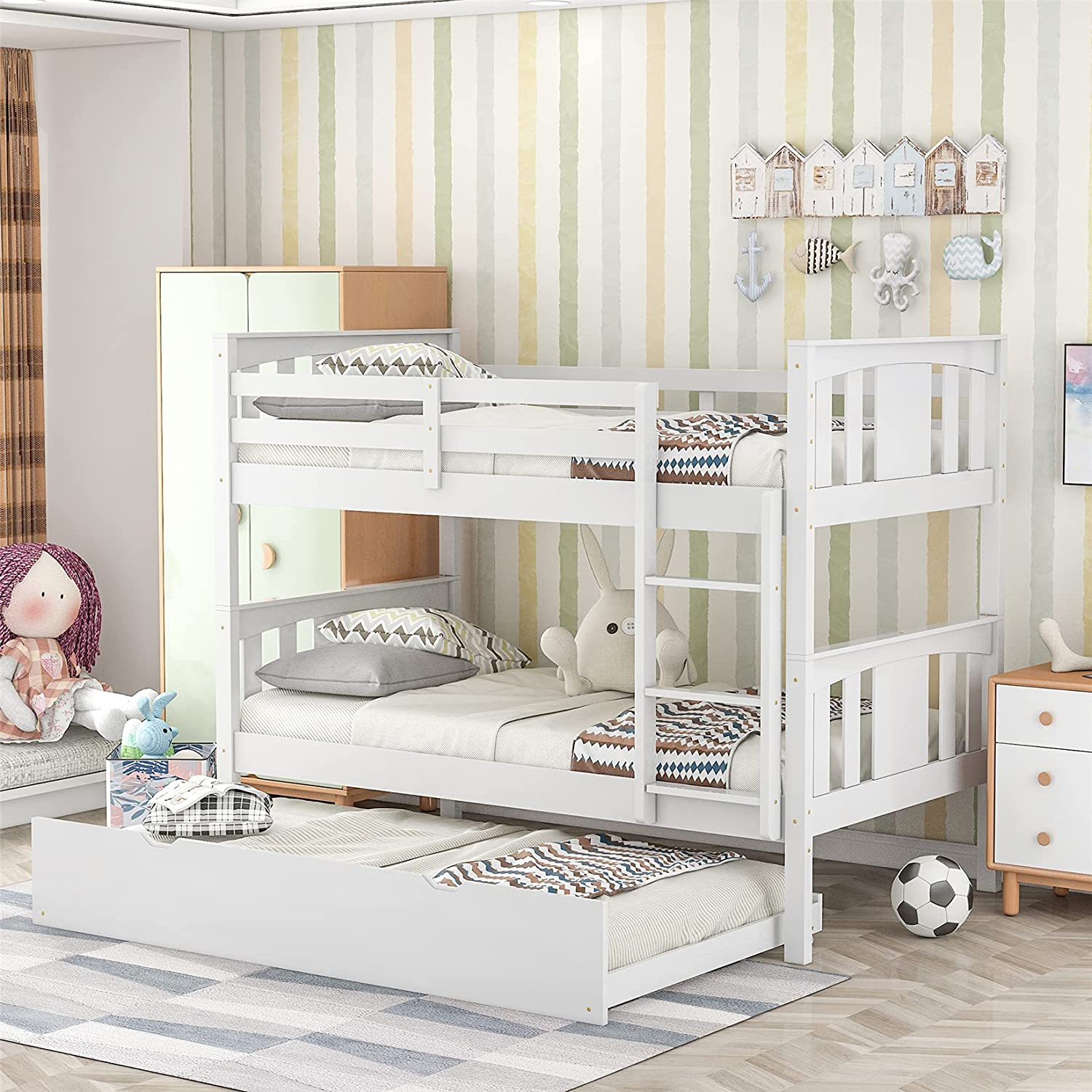 Challenge the lowest price of Japan Twin Over Bunk Bed with 2 Convertible Size store Trundle to