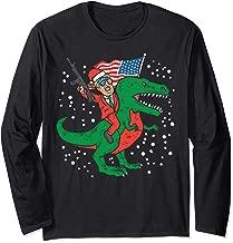 Santa Trump Riding T-Rex Gun US Flag Dinosaur Christmas Gift Long Sleeve T-Shirt