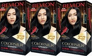 Revlon Colorsilk Buttercream Hair Dye, Blue Black, Pack of 3