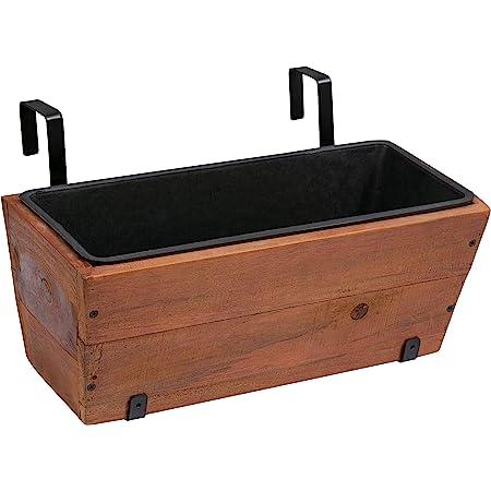 "Amazon Basics Recycled Wood Deck Hanging Planter - 2-Pack, 18.9"" x 7.87"" x 7.5"""