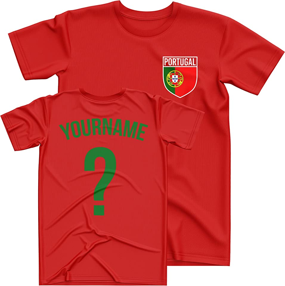 Portugal Football Shirt Kids - Portugal Flag Badge Custom Name and Number T Shirt - Football Personalised Retro Europe Summer 2021 Footy Gifts for Boy - Unique European Footie Top