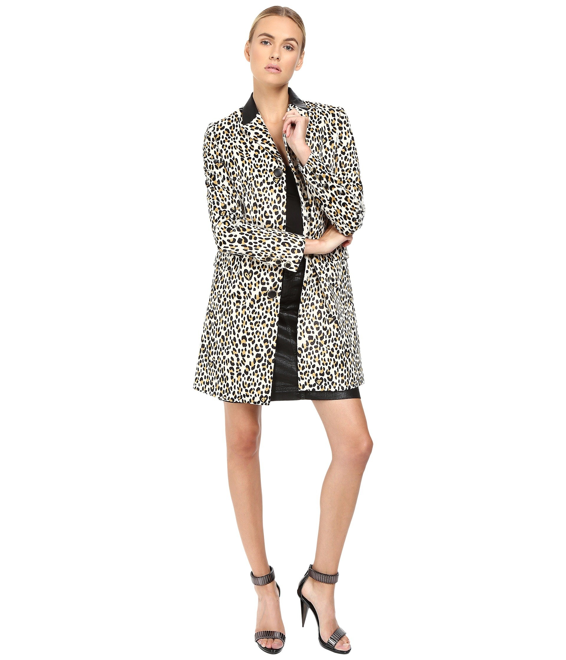 Love Cat Print Button Front Runway Jacket
