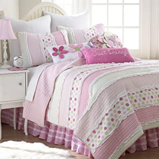 Levtex Marley Ruche Full/Queen Cotton Quilt Set Pink, White Stripes with Multicolored Dots