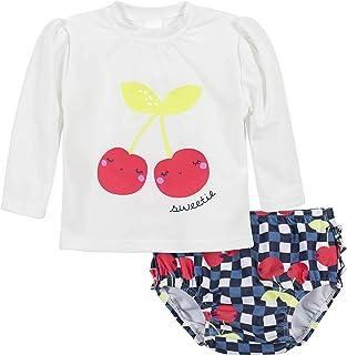 Gerber Girls Baby Toddler Long Sleeved Rashguard Swim Bathing Suit Set