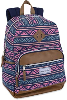 Pattern Aztec Multipocket Canvas Backpacks for Women with Water Bottle Holder (Triangle Mountains)