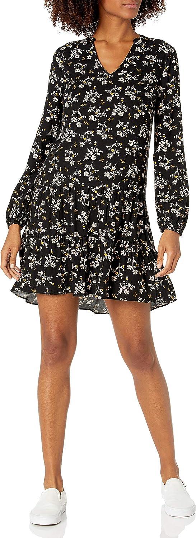 Amazon Brand - Goodthreads Women's Fluid Twill Relaxed Fit Notch Neck Tiered Mini Dress