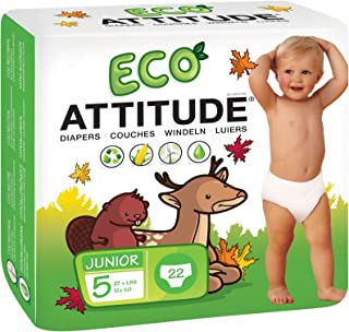 ATTITUDE Hypoallergenic Disposable Baby Diapers,  Junior Size 5,  Fragrance Free,  22 Count