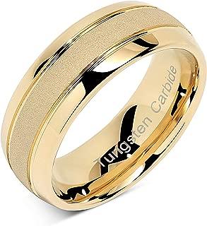 Tungsten Rings for Men Women Gold Wedding Band Sandblasted Finish Dome Edge Sizes 6-16