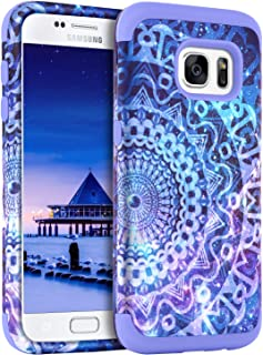 GUAGUA Galaxy S7 Case Samsung S7 Case Mandala Flower Three Layer Hybrid Hard PC Bumper Soft Silicone Rubber Glossy Cover Shockproof Protective Durable Phone Cases for Samsung Galaxy S7 (G930), Purple