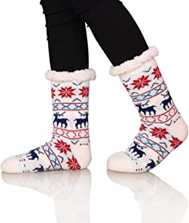 Women's Winter Super Soft Warm Cozy Fuzzy Snowflake Deer Fleece-lined Christmas Gift With Grippers Slipper Socks