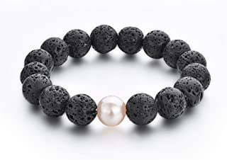 UKER Men Women Lava Rock Diffuser Bracelet with Natural Essential Oil Beads