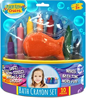 Peachy Keen Crafts Set of 8 Washable Bathtub Crayons   Draw & Write in Tub   Non-Toxic Crayons for Toddler Bathtime