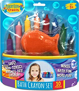 Peachy Keen Crafts Set of 8 Washable Bathtub Crayons | Draw & Write in Tub | Non-Toxic Crayons for Toddler Bathtime