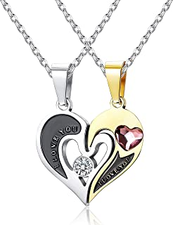 Sllaiss Made with Swarovski Crystals Couples Necklace for Women Mens Love Heart Pendant Puzzle Necklace Personalized Coupl...