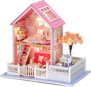 DIY Dollhouse Kit, BicycleStore 1:24 Scale Wooden Miniature Dollhouse Kits with LED Light and Music Box Pink Mini 3D Doll ...