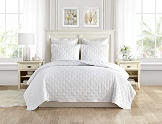 Swift Home Premium Bedding Set Collection 3pc Pre-Washed Quilt Coverlet Bedspread, Ultra Soft Microfiber Lightweight, Hypoallergenic Luxurious Oversized Quilt Bed Set All Season - King, White