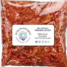 Real Mohair Wool Locks, Organic Hand Dyed Fiber for Felting, Blending, Spinning, Knitting, Doll Hair and Embellishments. 1 Ounce Orange