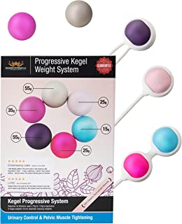 Ben Wa Progressive Kegel Weight Exercise System: 6 Weights for Woman, Beginner to Advance-Strengthen Pelvic Floor Muscle Recovery and Resolves Incontinence & Bladder Control