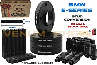 Complete Set Of (2) 20mm + (2) 25mm Black BMW Staggered Wheel Spacers Only + 90mm Black Racing Stud Conversion Kit 12x1.5 Works With BMW E36 E46 E90 E92 E64 E23 E32 E38 E31 OEM & Aftermarket Wheels