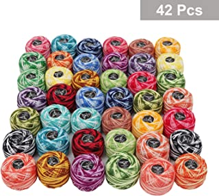 Kurtzy Crochet Thread 42 Pcs - Stripy Design Cotton Yarn in an Assortment of Colors - Each 5 Grams /1995 Yards in Total - Crochet Thread for Patterns, Hand Embroidery Projects and Applique