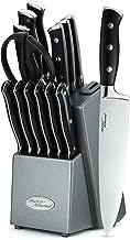 Marco Almond Knife Block Set, Kitchen Knives Set with Block, Kitchen Scissor, Cutlery Knives Set, Best Gift 14-Piece Japanese Steel/Self Sharpener/ABS Handle/Black