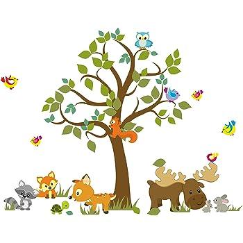 Madras24 Wandtattoo Kinder Babyzimmer Aufkleber Eule Eulen Wandsticker Wand Waldtiere Kinderzimmer Wandaufkleber Dekoration Furs Baby Kindergarten Baum Tiere Mk 66 Xl Amazon De Kuche Haushalt