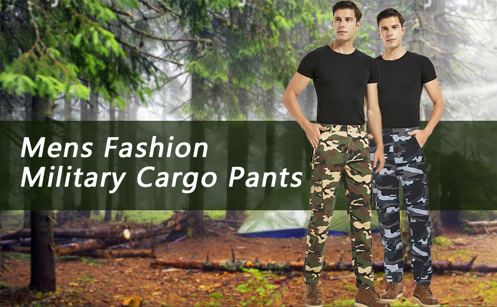 BOJIN Men's Cargo Pants Casual Military Army Camo Regular Fit Cotton Combat Camouflage Cargo Work Pants with 8 Pockets