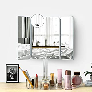 Lighted Makeup Mirror with Bluetooth Speaker,Foldable 1X/2X/3X Magnification Mirror and Detachable 10X Magnification Suction mirror,Large Comestic Tray、Rechargeable Power、Screen Touch、Dimmable Lights