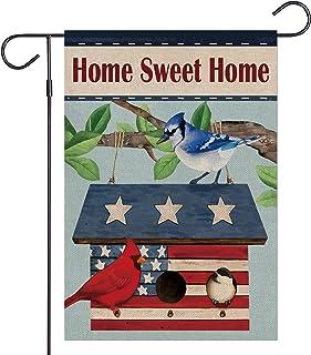 Haustalk Home Sweet Home Garden Flag Vertical Double Sided Burlap Vintage Birdcage Spring Summer Yard Outdoor Decor 12.5 x...