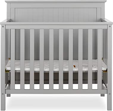 Dream On Me, Ava 4-in-1 Convertible Mini Crib, Pebble Grey