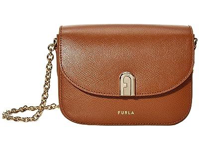 Furla 1927 Mini Crossbody 17 w/ Chain (Cognac) Handbags