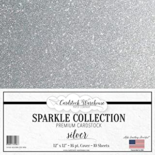 Mirrisparkle Silver Glitter Cardstock Paper from Cardstock Warehouse 12 X 12 Inch- 16 Pt/280gsm - 10 Sheets