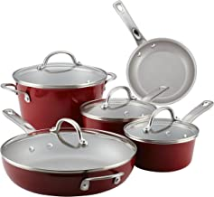 Ayesha Curry 10768 Home Collection Nonstick Cookware Pots and Pans Set, 9 Piece, Sienna Red