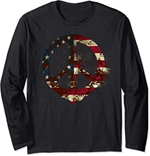 Rusty American Flag Peace Sign long sleeve t-shirt, usa