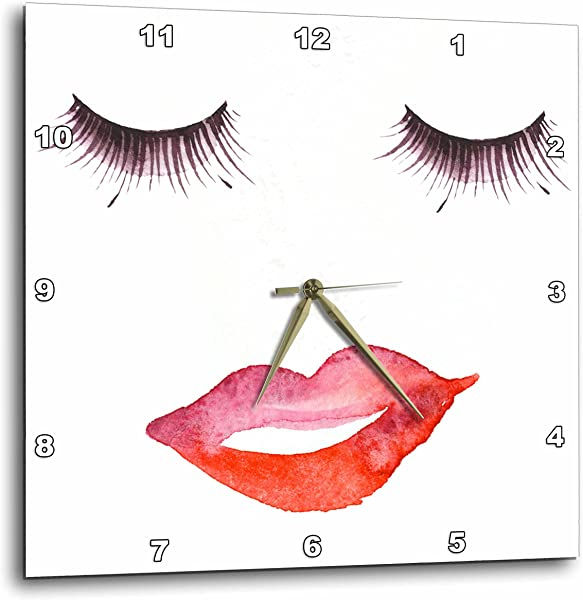 3dRose Eyelashes And Lips Wall Clock 13 X 13