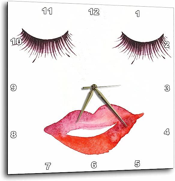 3dRose 睫毛和嘴唇挂钟 13X13