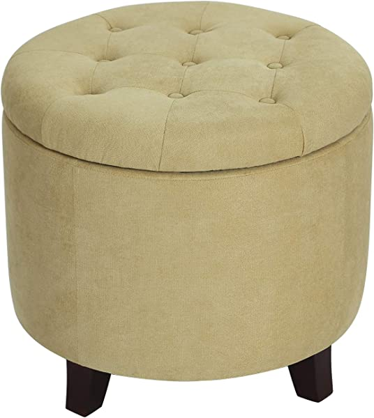 Adeco OF0041 3 Fabric Cushion Round Button Tufted Lift Top Storage Footstool Height 17 Inches Ottomans Storage Ottomans Flax Yellow