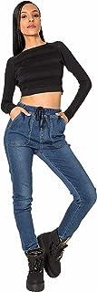 Crazy Age dżinsy damskie Highwaist Jogg-Denim dżinsy z gumowym ściągaczem, wygodne spodnie na czas wolny