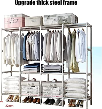 Home Stainless Steel Wardrobe Steel Pipe Bedroom Household Fabric Assembly Economical Simple Cloth Wardrobe HAODAMAI (Color :