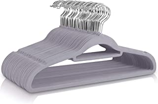 comprar comparacion Utopia Home - 50 Paquete Perchas de Terciopelo - Perchas para Trajes de Terciopelo con Tie Bar - Antideslizantes (Gris)