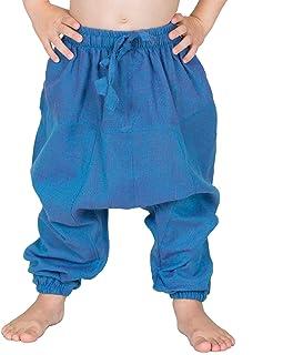 Nitya Design Pantalones harén para niños, planos, bombachos, pantalones aladín, tallas 86-146 turquesa 110/116 cm
