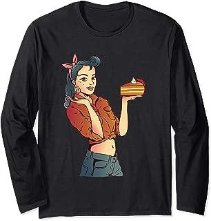Funny Rockabilly Thanksgiving Pumpkin Pie Sexy Pin Up Girl Long Sleeve T-Shirt